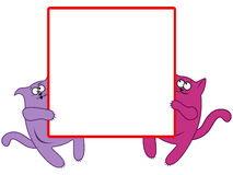 与大方形的横幅的滑稽的猫 免版税图库摄影
