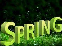 与大春天题字的美好的绿色背景以3d格式 库存例证