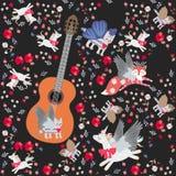 与大木吉他和小的不可思议的动物的幻想无缝的样式:飞过的猫、佩格瑟斯和狐狸、微小的莓果和花 向量例证