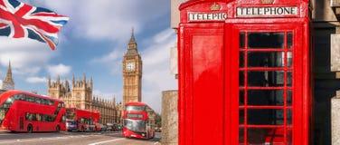 与大本钟、双层公共汽车和红色电话亭的伦敦标志在英国,英国 库存图片