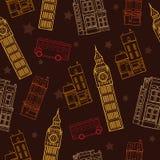 与大本钟塔、双层公共汽车、议院和星的传染媒介伦敦标志布朗无缝的样式 免版税库存图片
