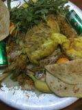 与大板材的特别美味的阿拉伯食物 免版税库存图片