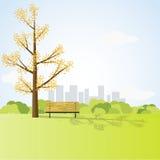 与大树和长凳的领域风景 免版税图库摄影