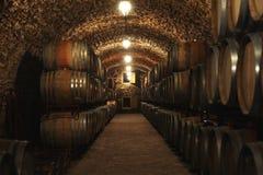 与大桶的葡萄酒库内部 库存照片
