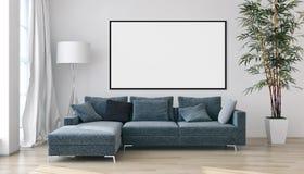 与大模型海报框架3D的现代明亮的内部公寓关于 免版税库存图片