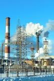 与大气污染管子的工业看法 库存照片