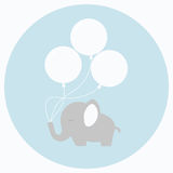 与大气球的小的婴孩大象 免版税库存图片