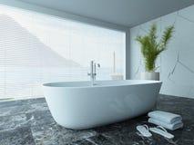 与大理石地板的当代白色卫生间内部 免版税库存图片
