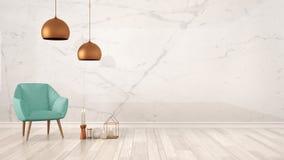 与大理石墙壁、绿松石扶手椅子、蜡烛和装饰的最低纲领派建筑师设计师概念背景在木条地板地板, livi 向量例证