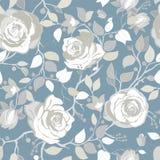 与大白玫瑰的灰色样式 与大例证花的传染媒介墙纸 手拉的植物 免版税图库摄影