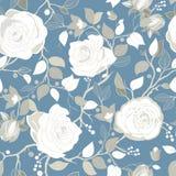与大白玫瑰的灰色样式 与大例证花的传染媒介墙纸 手拉的植物 库存图片