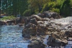 与大白色石头和火山岩的一个狂放的海滩在海滩、绿色树和灌木 库存照片