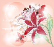 与大百合和蝴蝶的贺卡 库存图片