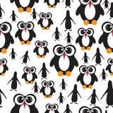 与大眼睛的无缝的样式企鹅 皇族释放例证