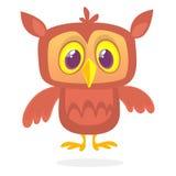与大眼睛的滑稽的动画片猫头鹰 也corel凹道例证向量 为印刷品、cartboard、儿童图书例证或者党装饰设计 皇族释放例证