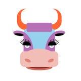 与大睫毛的逗人喜爱的紫色母牛 与橙色垫铁的牲口 库存图片