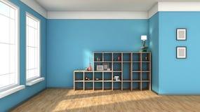 与大窗口的蓝色内部 免版税库存照片