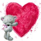 与大红色心脏的玩具熊 华伦泰贺卡 免版税库存图片