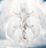 与大翼的飞行的白色天使 免版税库存图片