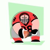 与大肌肉的美国橄榄球运动员动画片 库存图片