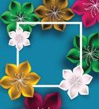 与大花的五颜六色的传染媒介背景 免版税图库摄影