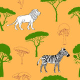 与大草原动物的无缝的样式 免版税库存图片