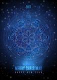 与大葡萄酒蓝色金雪花的圣诞节背景 传染媒介EPS 10 皇族释放例证