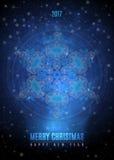 与大葡萄酒蓝色金雪花的圣诞节背景 传染媒介EPS 10 向量例证