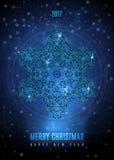 与大葡萄酒蓝色金雪花的圣诞节背景 传染媒介EPS 10 库存例证