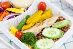 与大蒜和胡椒和菜沙拉泰国烹调的鸡 库存照片