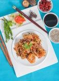 与大蒜和胡椒菜单的油煎的虾 免版税图库摄影