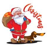 与大袋的滑稽的动画片圣诞老人在他的后面和棕色达克斯猎犬-年的标志的礼物 库存图片
