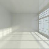 与大视窗的空的内部 免版税图库摄影