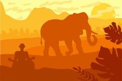 与大象和Yog的印地安风景 皇族释放例证
