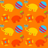 与大象球和花的五颜六色的无缝的纹理 库存例证