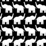 与大象的快乐的无缝的样式 黑色白色 向量 免版税图库摄影