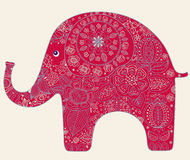 与大象的看板卡 库存照片
