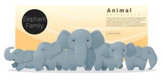 与大象的逗人喜爱的动物家庭背景 向量例证