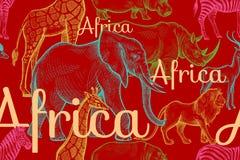 与大象,长颈鹿,犀牛,河马,狮子的无缝的样式 库存图片
