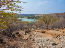 与大车轮痕迹的粗砺的越野轨道沿在Kunene河小屋和Epupa之间的Kunene河落,纳米比亚,非洲 库存图片