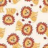与大逗人喜爱的狮子的无缝的样式 免版税图库摄影