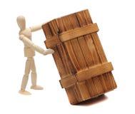 与大配件箱的木玩偶 库存图片