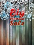 与大销售的圣诞节雪花。 免版税库存照片
