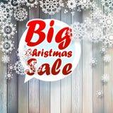 与大销售的圣诞节雪花。 免版税库存图片