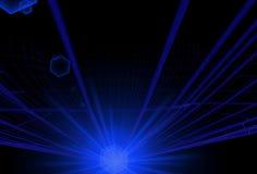 与大长的蓝色轻的强光的抽象蓝线 库存照片