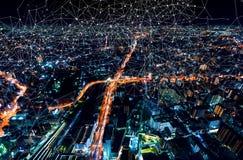 与大阪市,日本的链接 库存照片
