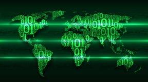 与大陆的抽象地图世界从在背景摘要电路板的数字式二进制编码,大数据的概念 免版税库存图片