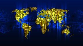 与大陆的抽象地图世界从数字式二进制编码背景电路板,数字技术的概念 免版税库存照片