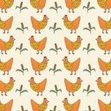 与大麦米样式的鸡 例证减速火箭的传染媒介被隔绝的背景 免版税库存照片