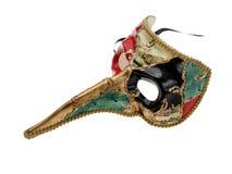 与大鼻子的传统威尼斯面具被隔绝在白色背景 免版税库存照片